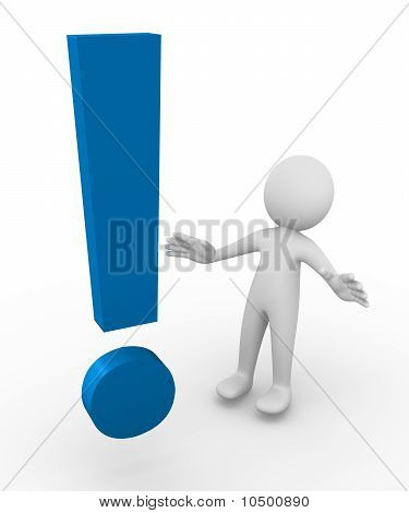 Man facing a huge exclamation point