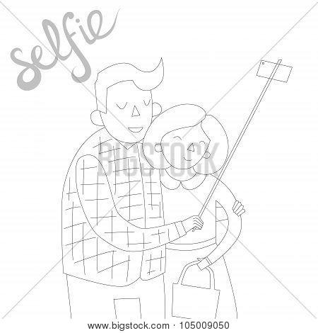 selfie photo illustration vector black and white