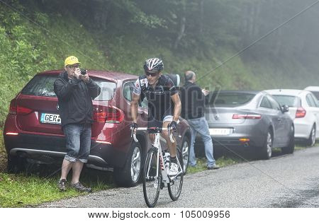 The Cyclist Matthew Busche Climbing Col Du Platzerwasel - Tour De France 2014