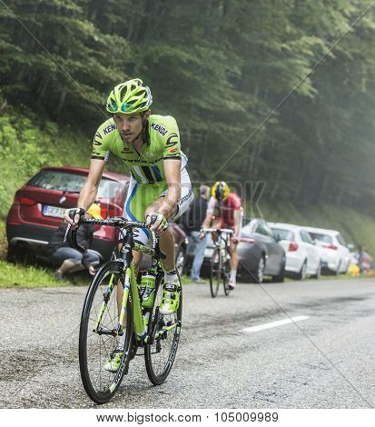 The Cyclist Jean-marc Marino Climbing Col Du Platzerwasel - Tour De France 2014