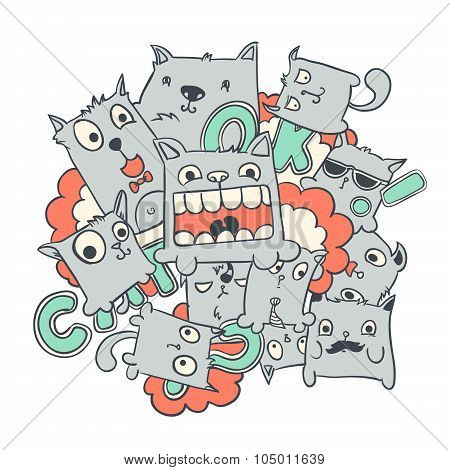 Funny cat doodles, vector illustration.