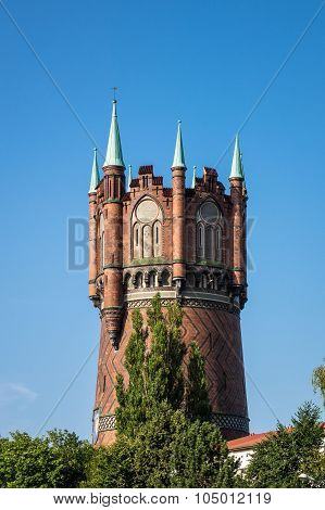Historical Water Tower In Rostock
