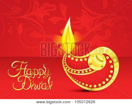 Abstract Artistic Red Golden Diwali