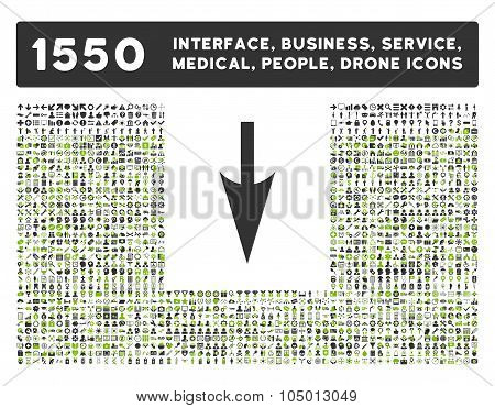 Sharp Down Arrow Icon And More Interface, Business, Tools, People, Medical, Awards Flat Glyph Icons