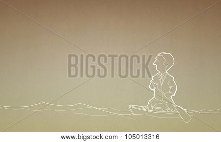 Caricature of funny businessman with paddle floating on boat