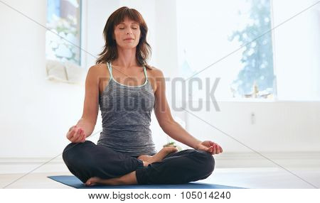 Fitness Female Practicing Padmasana At Gym