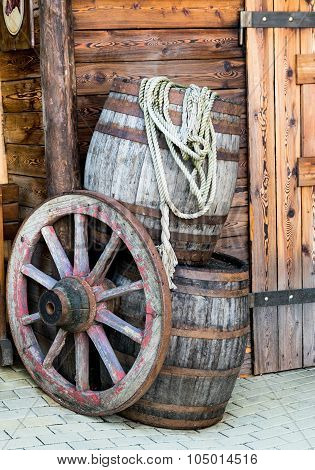 Barrels And Wheel Of A Stagecoach.
