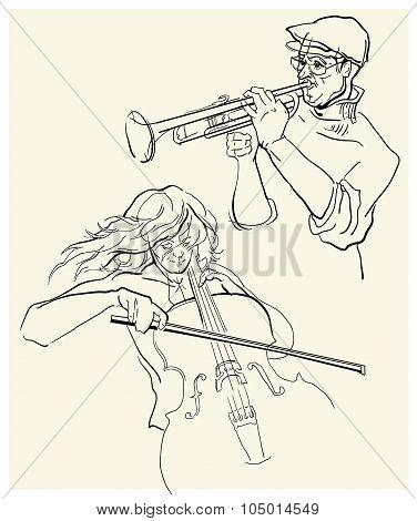 Vector sketch of musicants.