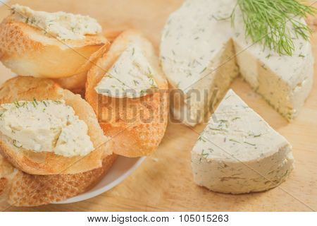 Canape with goat cheese - healthy breakfast products