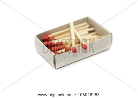 Matchstick In Matchbox Isolated On White