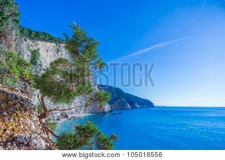 Beautiful summer white Porto Katsiki beach on Ionian Sea Lefkada, Greece