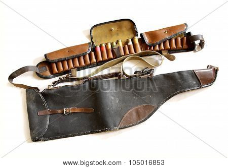 Vintage Sporting Cartridge Belt And Shotgun Bag