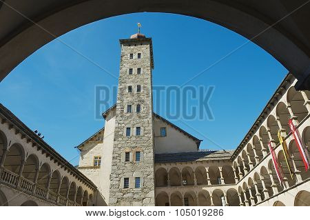 View to the Stockalper palace tower in Brig (Brig-Glis), Switzerland.
