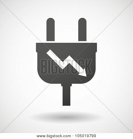 Isolated Plug Icon With A Descending Graph