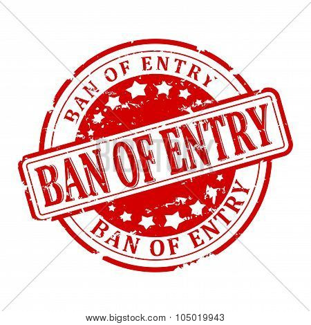 Damaged Round Red Stamped - Ban Of Entry