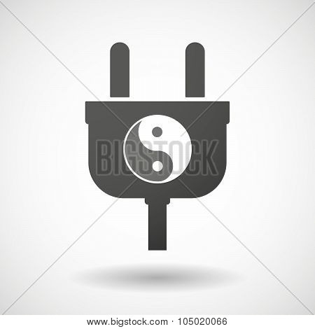 Isolated Plug Icon With A Ying Yang