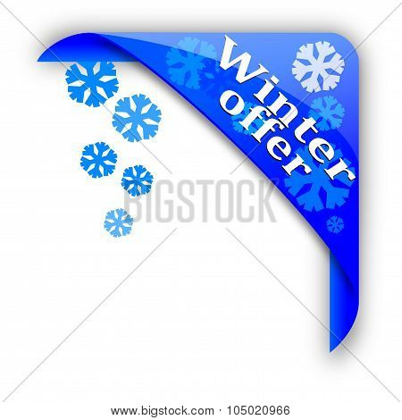 Blue Corner With Snowflakes And Inscription Winter Offer