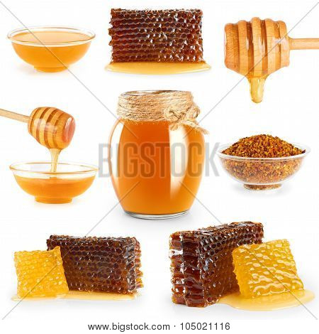 Jar With Honey, Honeycombs, Honey Dipper And Pollen On White Background.