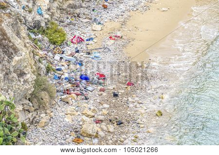 Polluted Beach In Ibiza.