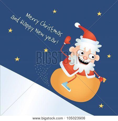Crazy Santa Sledding Down