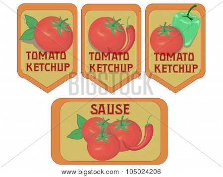 Vintage vegetables ketchup sauce label