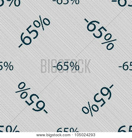 65 Percent Discount Sign Icon. Sale Symbol. Special Offer Label. Seamless Pattern With Geometric Tex
