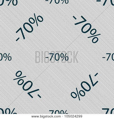 70 Percent Discount Sign Icon. Sale Symbol. Special Offer Label. Seamless Pattern With Geometric Tex