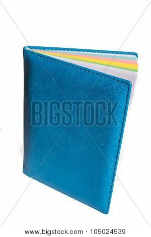 blue leather notebook isolated