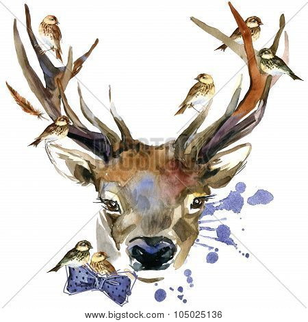 forest deer and birds T-shirt graphics.
