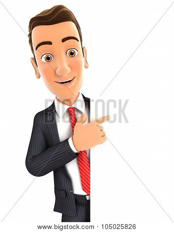 3d businessman pointing to right blank wall