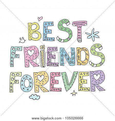 Best Friends Forever Friendship Cute Design