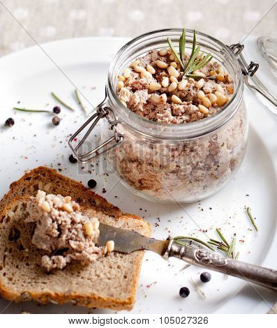 Duck meat terrine, pate with pine nuts, rosemary