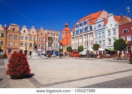 GRUDZIADZ, POLAND - AUGUST 10, 2015: Architecture of old town in Grudziadz, Poland. Grudziadz is a historic city located at Vistula river in northern Poland.