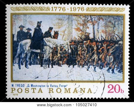 ROMANIA - CIRCA 1976: a stamp printed in the Romania shows Washington at Walley Forge, Painting by William B .T. Trego, American Bicentennial, circa 1976