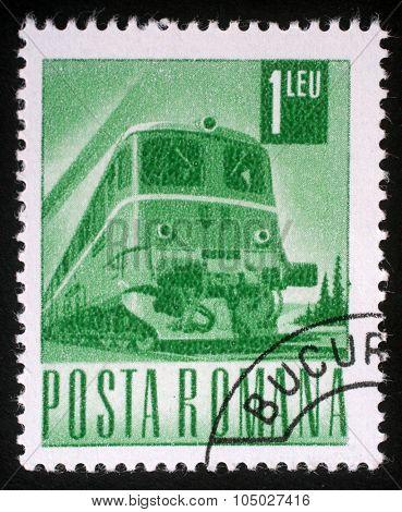 ROMANIA - CIRCA 1971: A stamp printed in Romania shows Diesel Locomotive, series, circa 1971