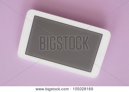 Modern White Tablet Pc Isolated On Pink Background With Clipping Path