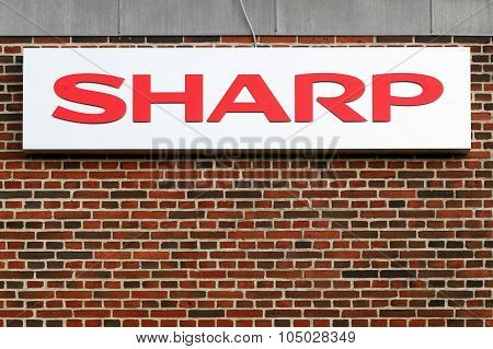 Sharp logo on a facade