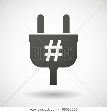 Isolated Plug Icon With A Hash Tag