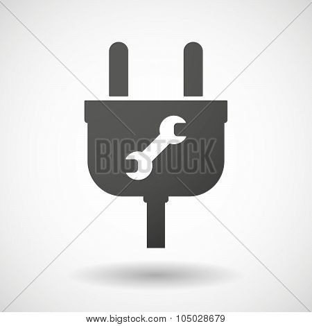 Isolated Plug Icon With A Wrench