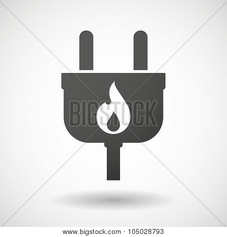 Isolated Plug Icon With A Flame