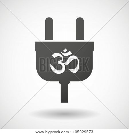 Isolated Plug Icon With An Om Sign