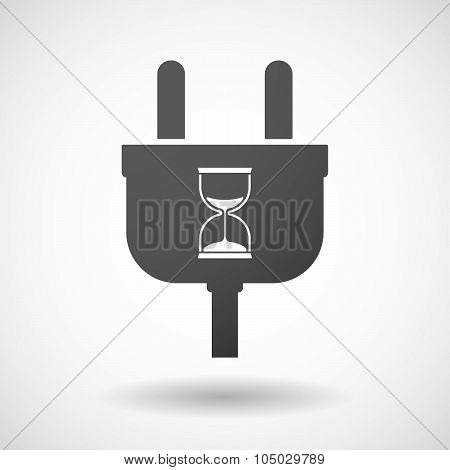 Isolated Plug Icon With A Sand Clock