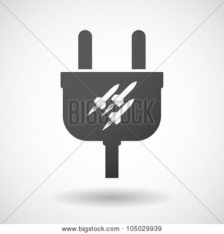 Isolated Plug Icon With Missiles