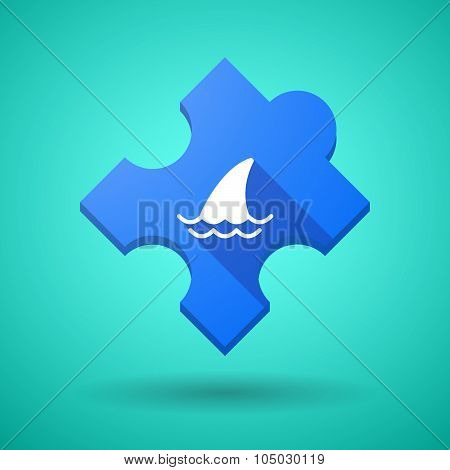 Long Shadow Puzzle Icon With A Shark Fin