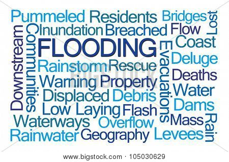 Flooding Word Cloud on White Background