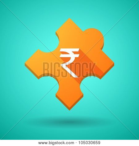 Long Shadow Puzzle Icon With A Rupee Sign