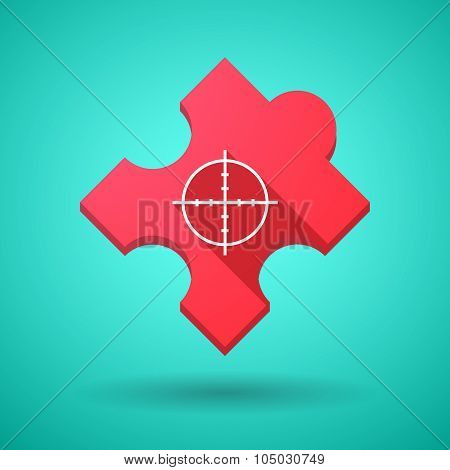 Long Shadow Puzzle Icon With A Crosshair