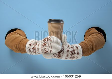 Coffee to go in winter time. Empty for your logo