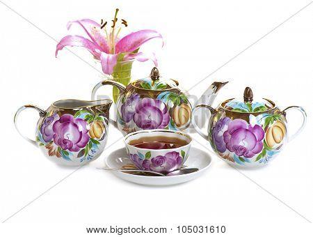 tea set isolated on white background