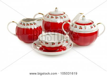 red tea set isolated on white background